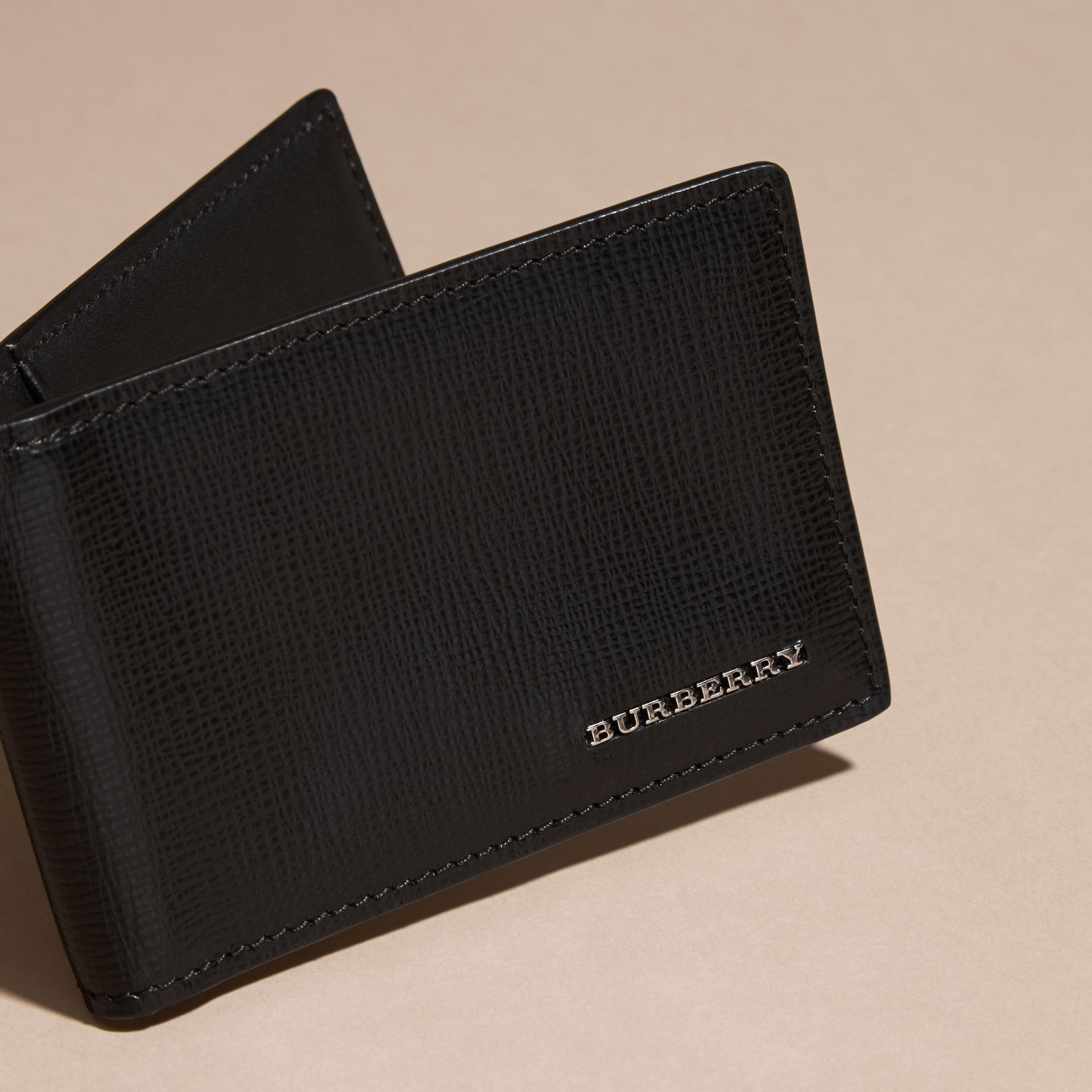 Black London Leather ID Wallet Black - gallery image 3