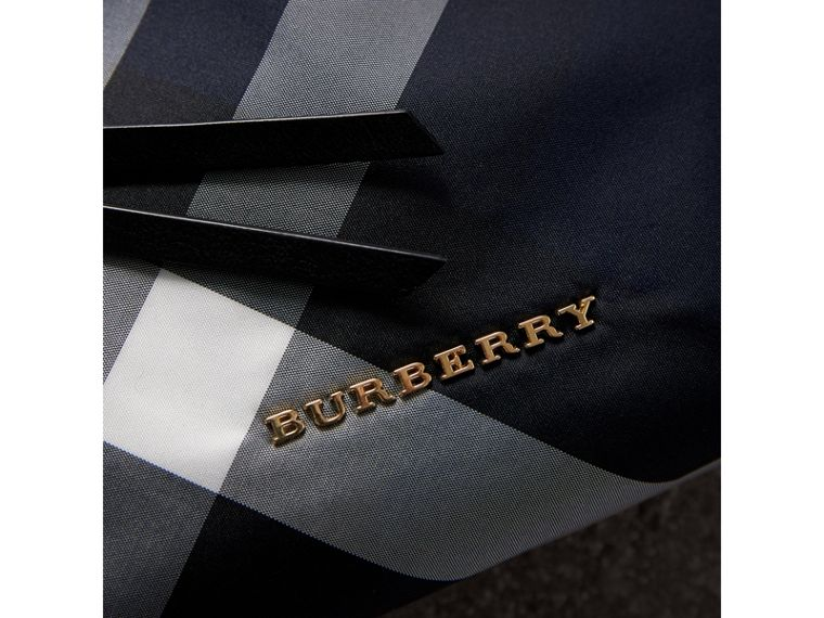 Large Zip-top Check Pouch in Indigo Blue - Women | Burberry Canada - cell image 1