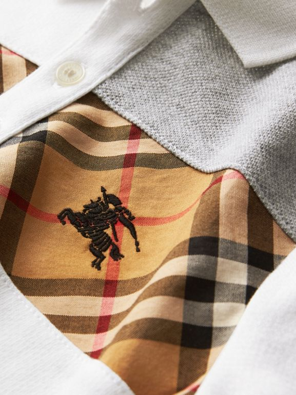 Vintage Check Panel Cotton Polo Shirt in White | Burberry - cell image 1