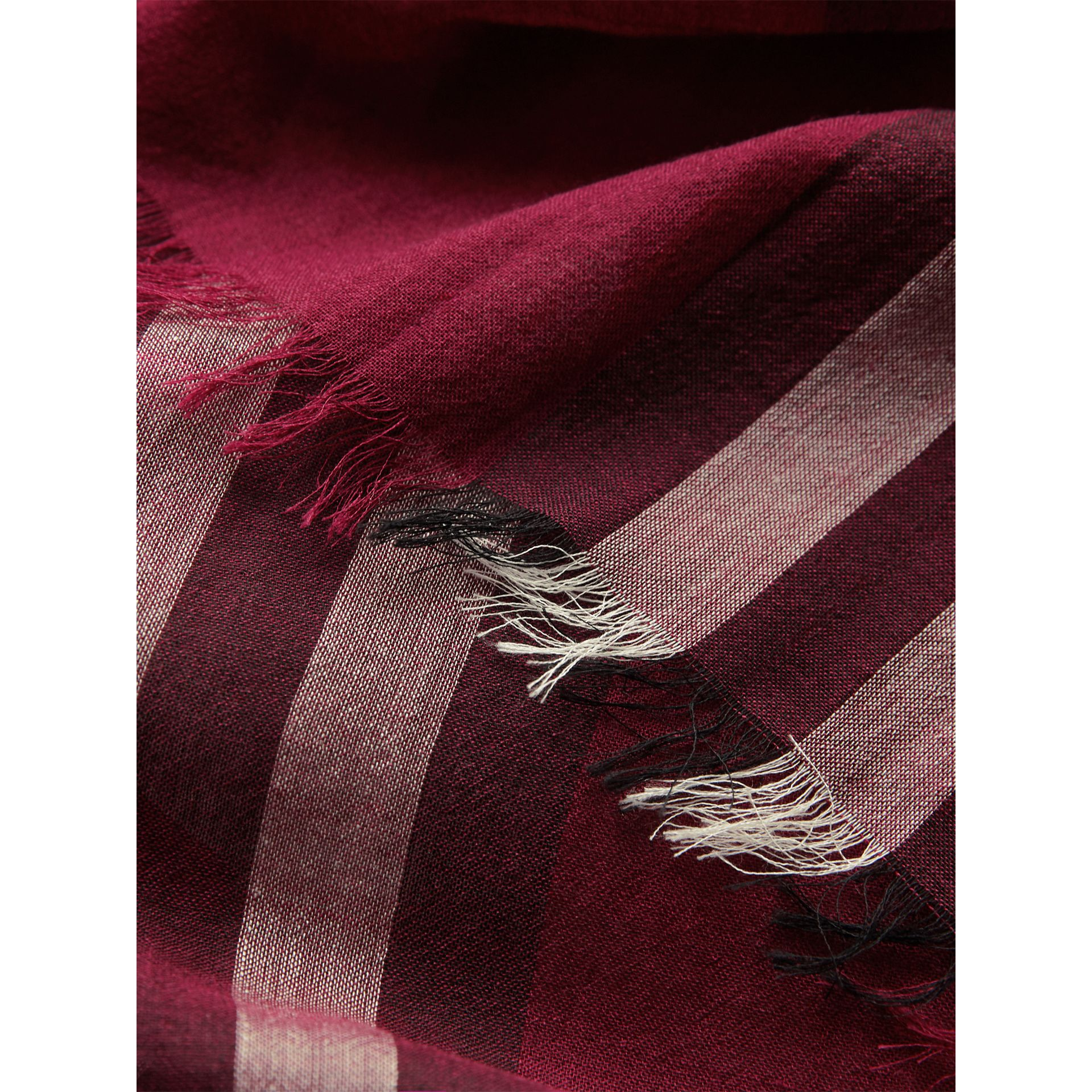 Lightweight Check Wool and Silk Scarf in Plum | Burberry - gallery image 2