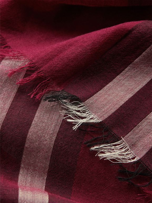 Lightweight Check Wool and Silk Scarf in Plum | Burberry Canada - cell image 1