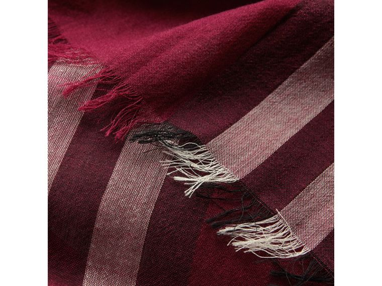Lightweight Check Wool and Silk Scarf in Plum | Burberry Hong Kong - cell image 1