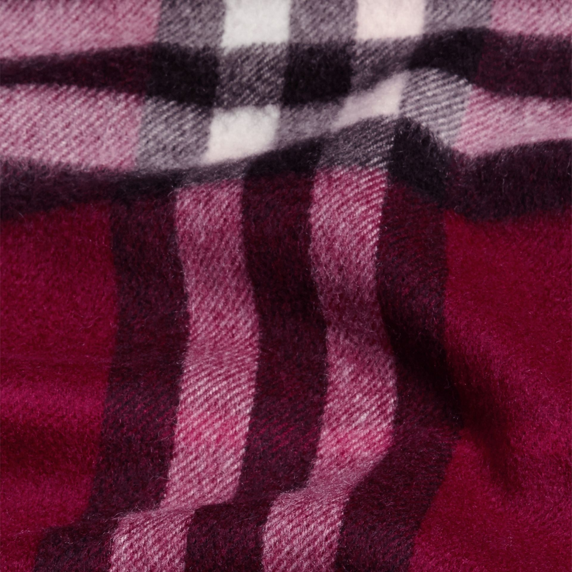 The Mini Classic Cashmere Scarf in Check in Plum - gallery image 4