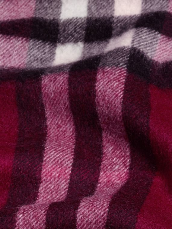 The Mini Classic Cashmere Scarf in Check in Plum - cell image 3
