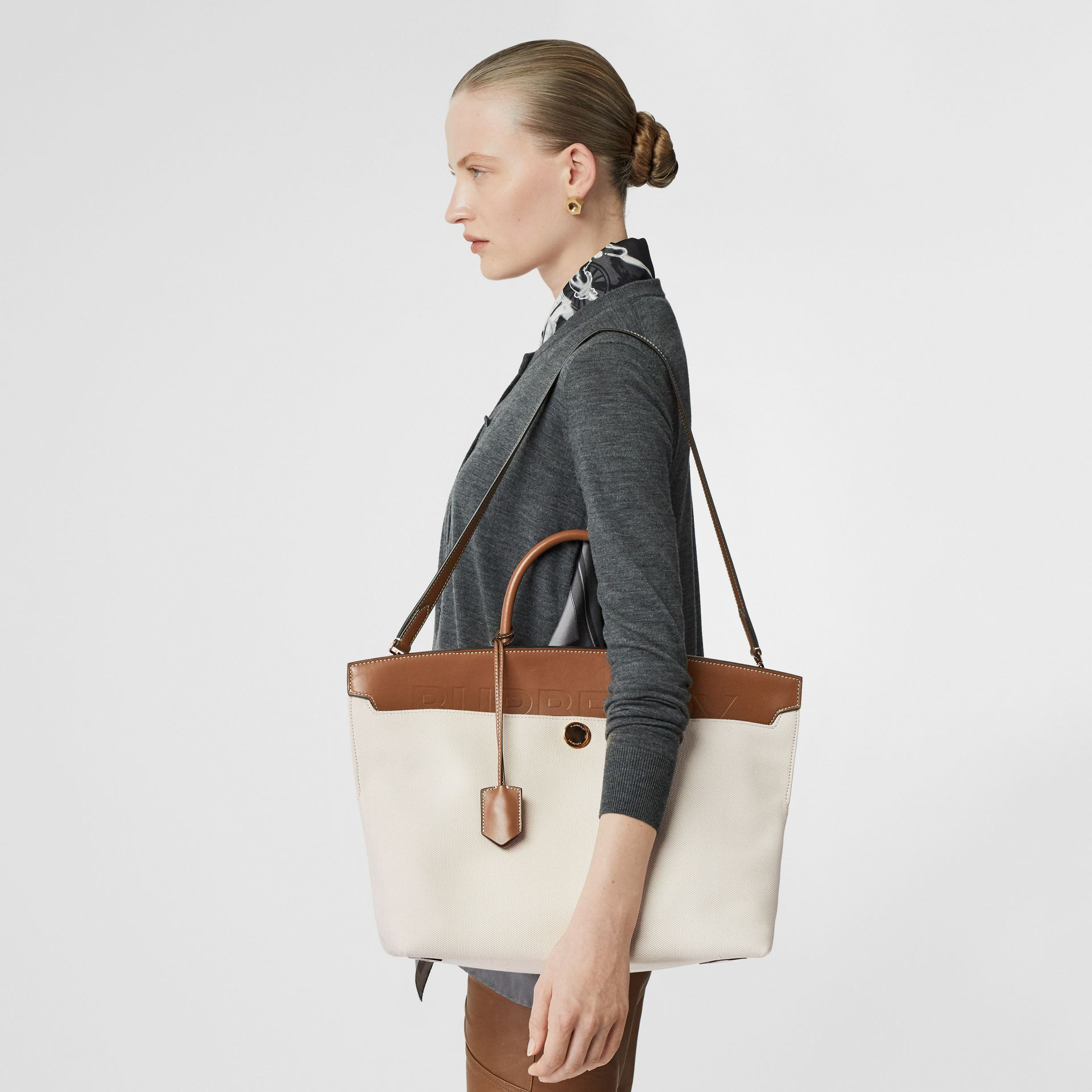 Cotton Canvas and Leather Society Top Handle Bag in Natural/malt Brown - Women | Burberry - gallery image 5