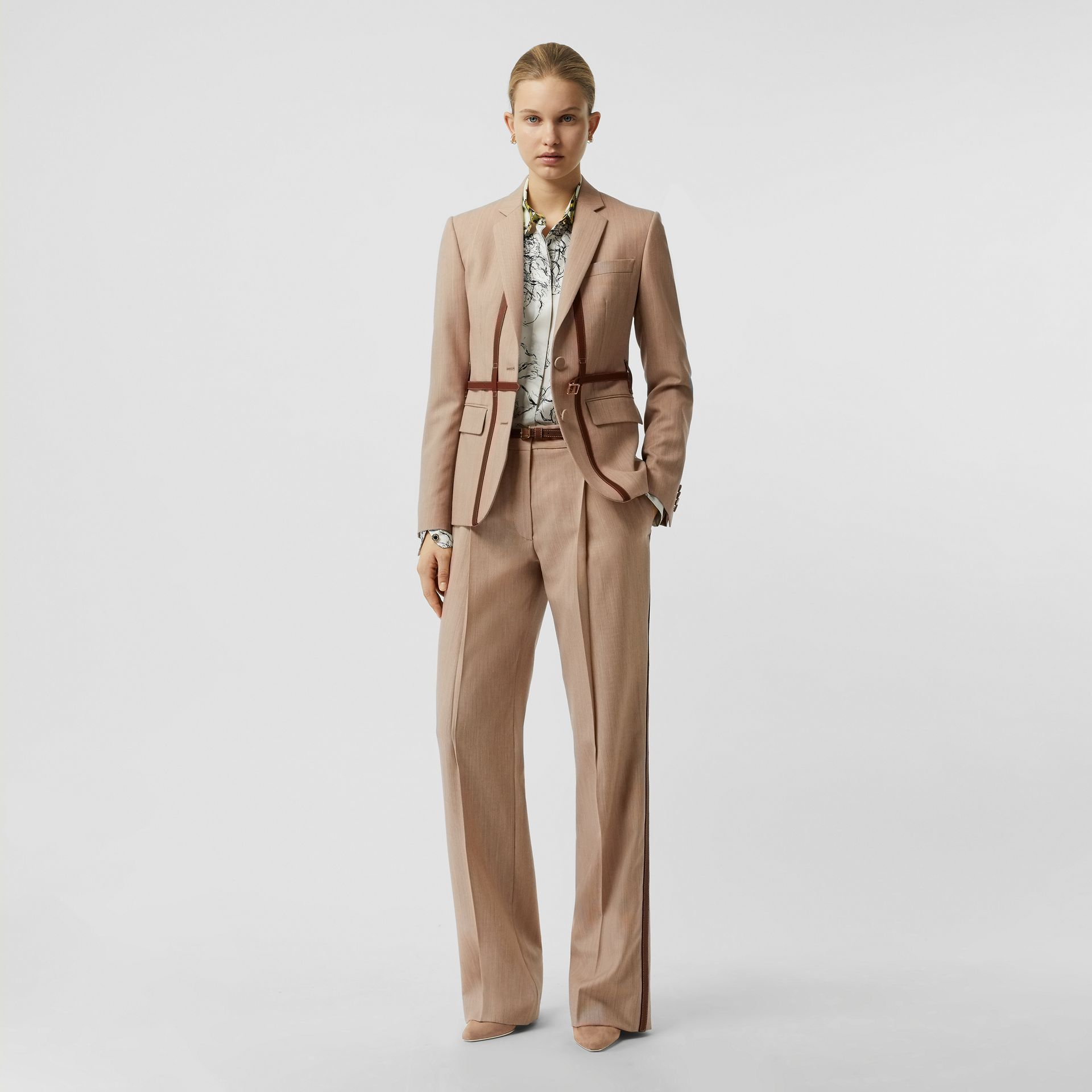 Leather Harness Detail Wool Tailored Jacket in Camel Melange - Women | Burberry - gallery image 0