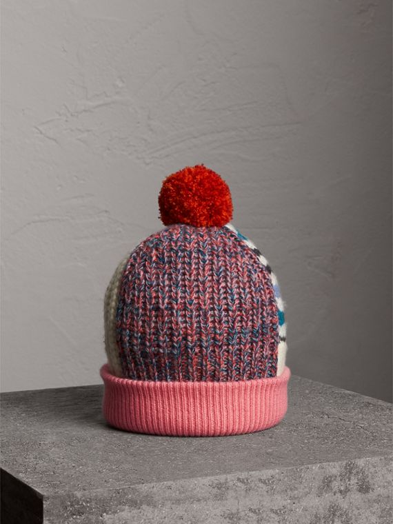 Pom-pom Wool Cashmere Patchwork Beanie in Natural White/pink