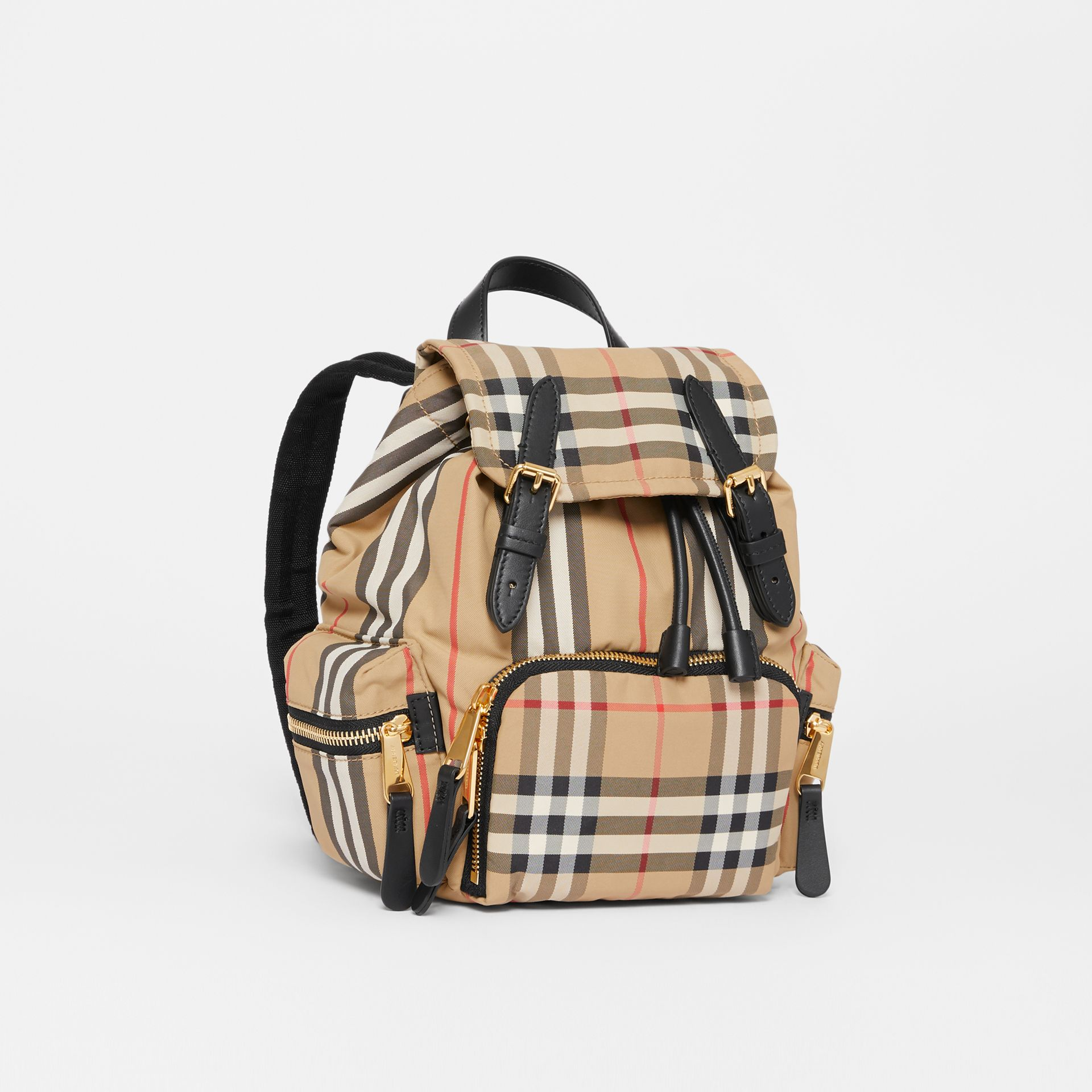 The Small Rucksack in Vintage Check and Icon Stripe in Archive Beige - Women | Burberry Australia - gallery image 6