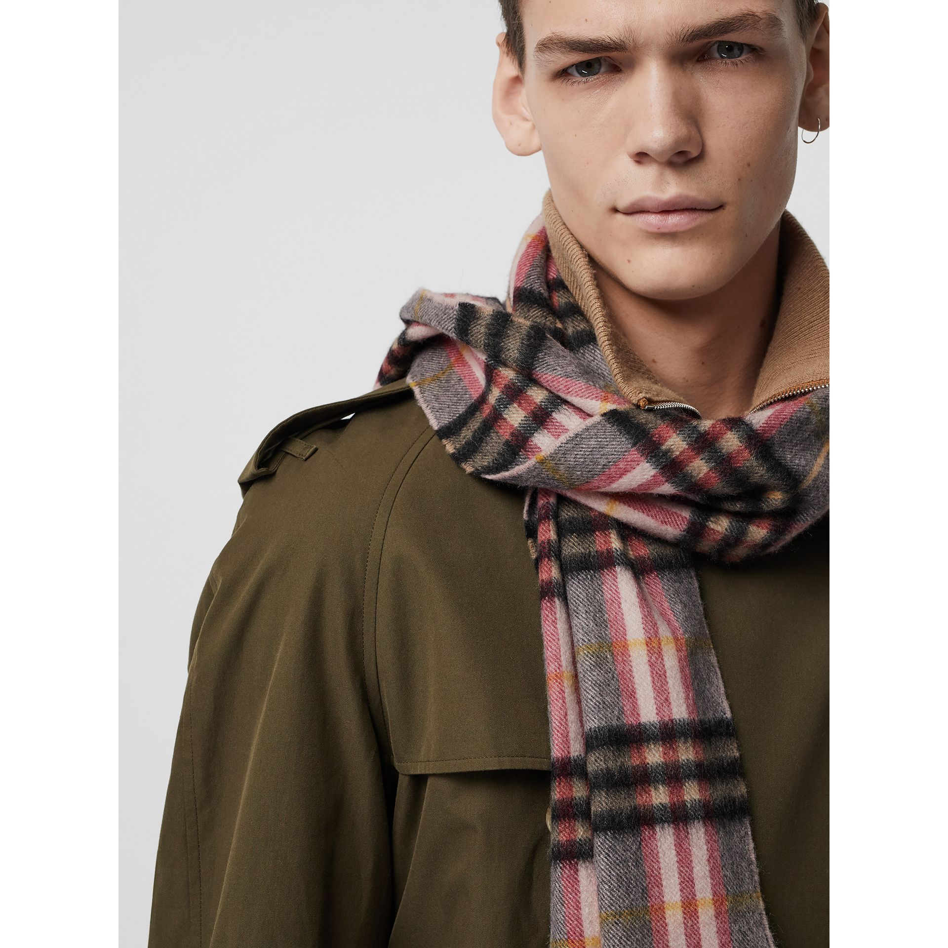 Check Cashmere Scarf in Ash Rose | Burberry - gallery image 6