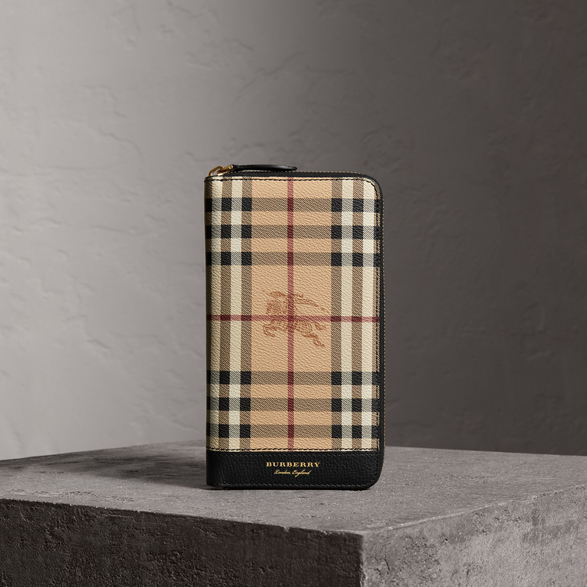 Haymarket Check and Leather Ziparound Wallet in Black - Men | Burberry - gallery image 0