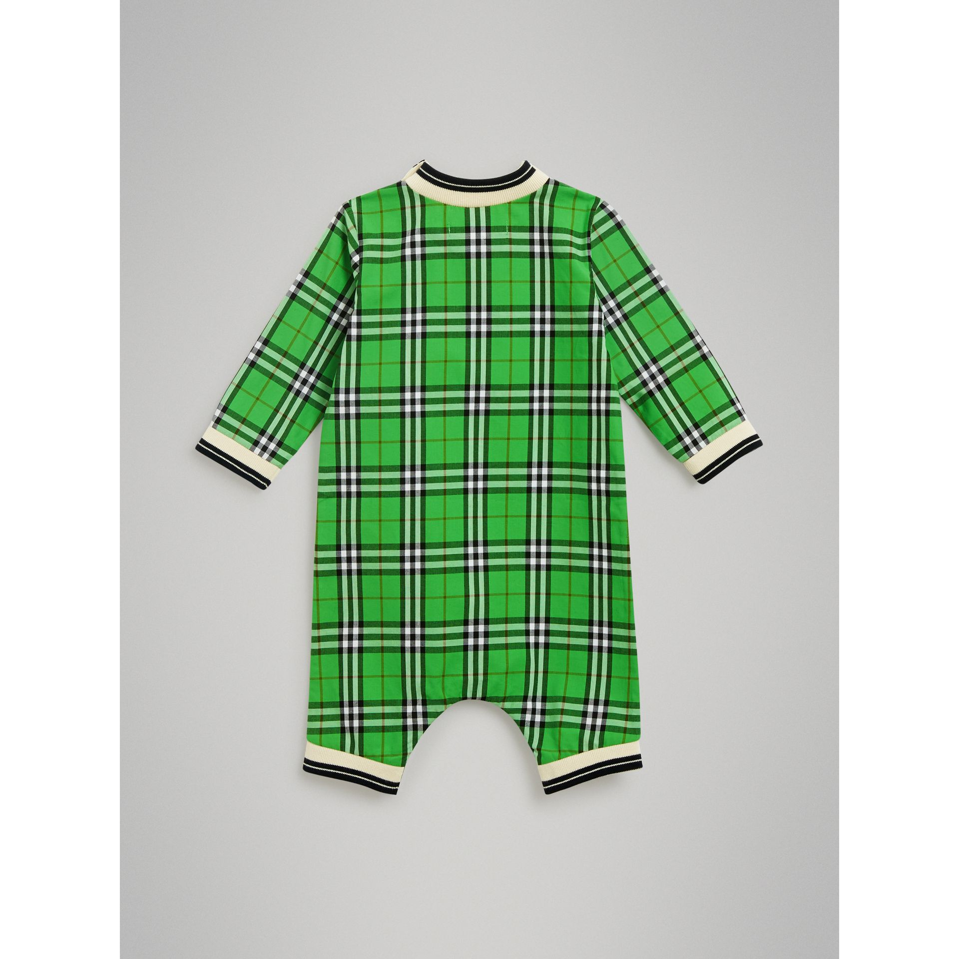 Check Cotton Jumpsuit in Bright Grass Green - Children | Burberry United Kingdom - gallery image 3