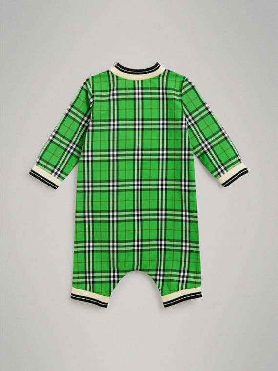 Check Cotton Jumpsuit in Bright Grass Green | Burberry - cell image 3