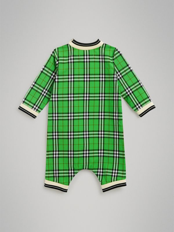 Check Cotton Jumpsuit in Bright Grass Green - Children | Burberry - cell image 3