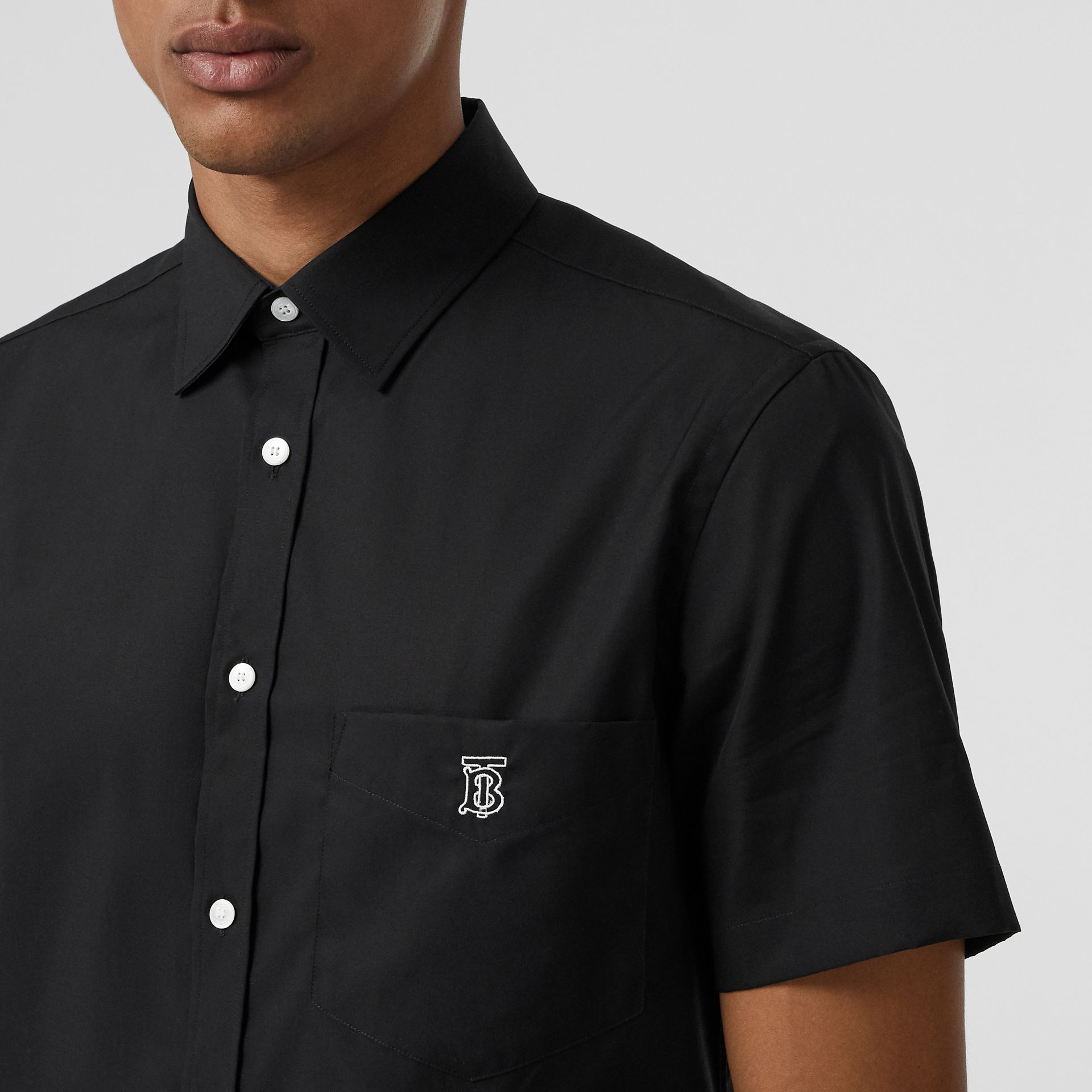 Short-sleeve Monogram Motif Stretch Cotton Shirt in Black - Men | Burberry Singapore - gallery image 1