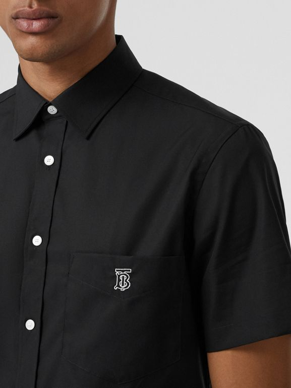 Short-sleeve Monogram Motif Stretch Cotton Shirt in Black - Men | Burberry Singapore - cell image 1
