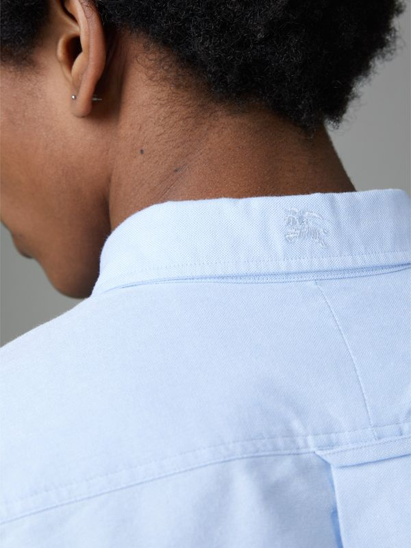 Check Cuff Cotton Oxford Shirt in Cornflower Blue - Men | Burberry Singapore - cell image 3