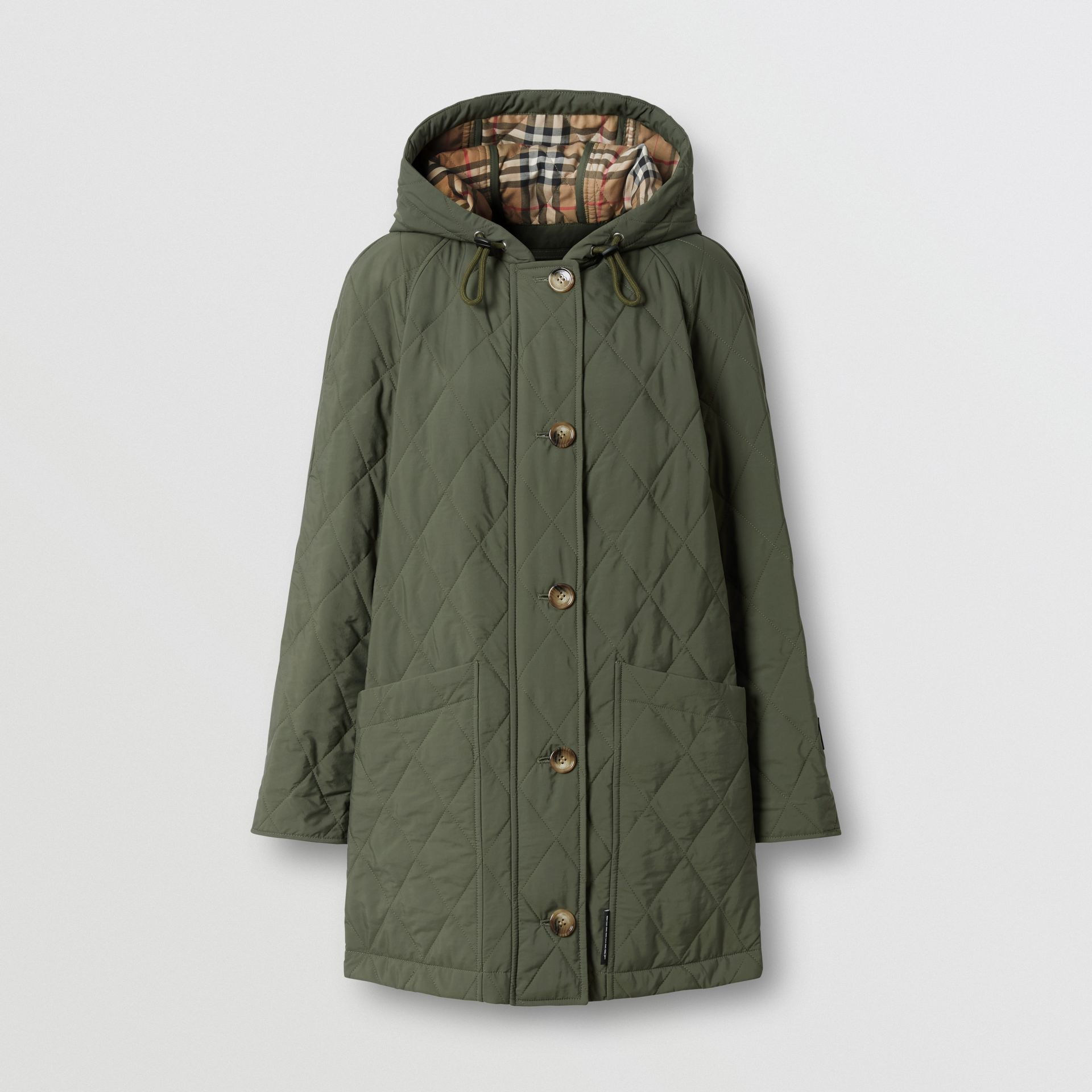 Diamond Quilted Thermoregulated Hooded Coat in Poplar Green - Women | Burberry - gallery image 3