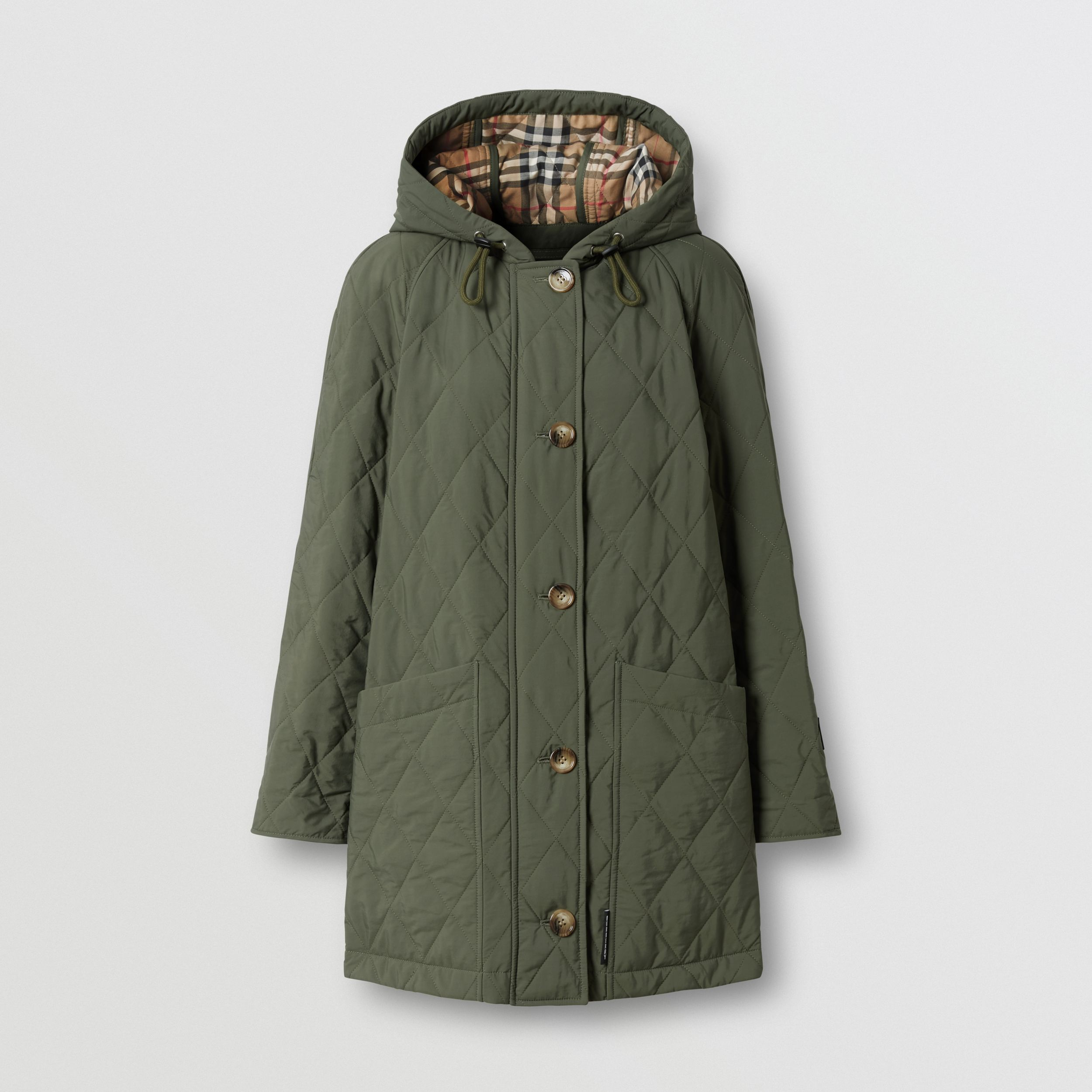 Diamond Quilted Thermoregulated Hooded Coat in Poplar Green - Women | Burberry Canada - 4