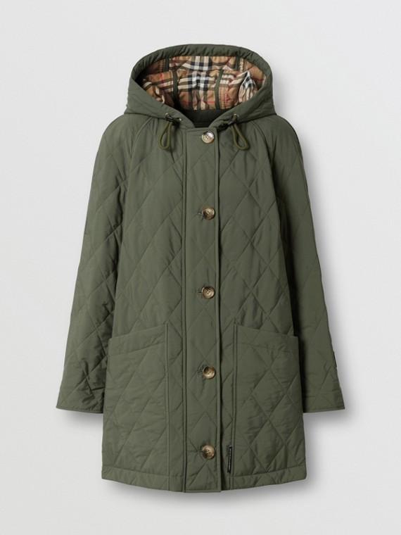 Manteau à capuche thermorégulé matelassé (Vert Peuplier)