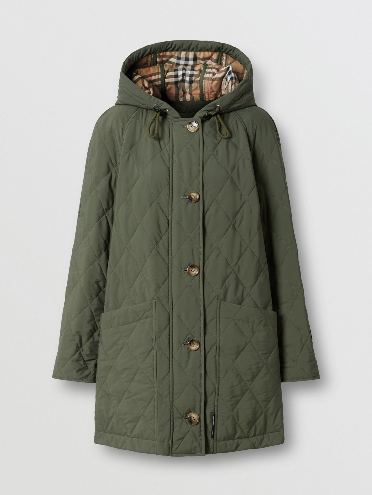 Diamond Quilted Thermoregulated Hooded Coat in Poplar Green