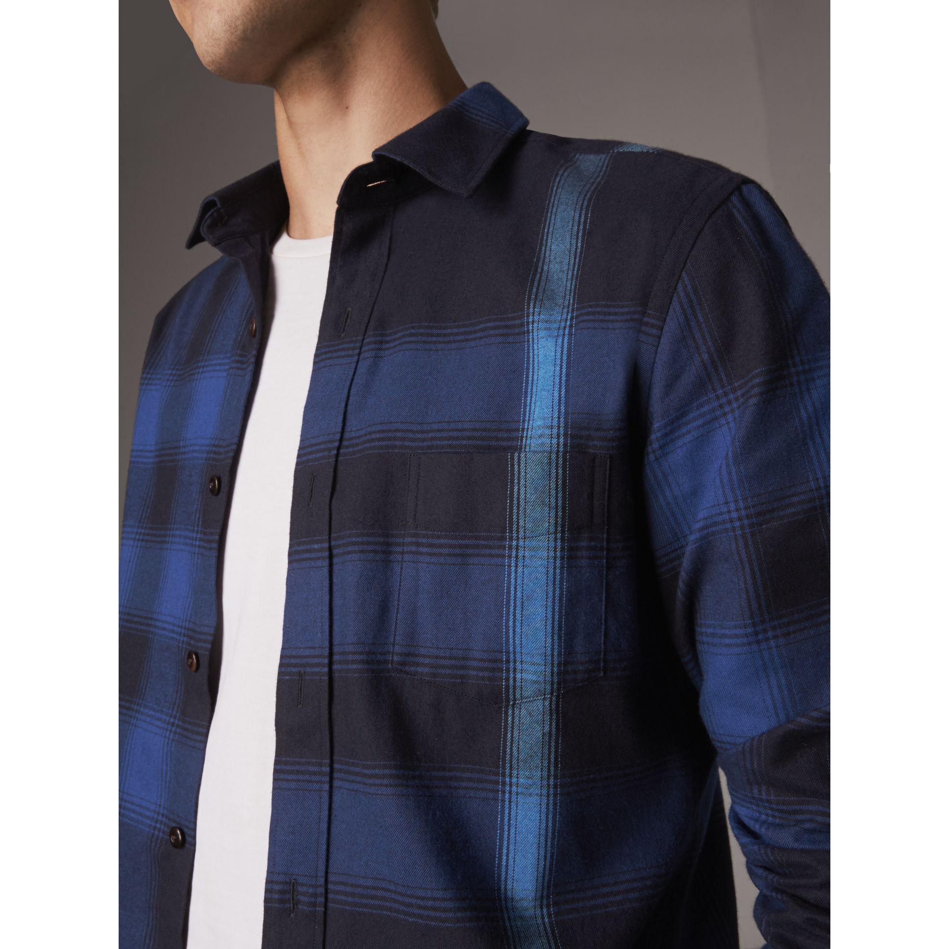Ombré Check Cotton Flannel Shirt in Cobalt Blue - Men | Burberry - gallery image 1
