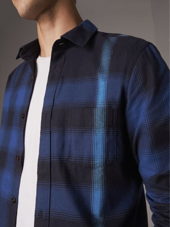 Ombré Check Cotton Flannel Shirt in Cobalt Blue - Men | Burberry United Kingdom - cell image 1