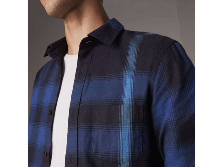 Ombré Check Cotton Flannel Shirt in Cobalt Blue - Men | Burberry - cell image 1