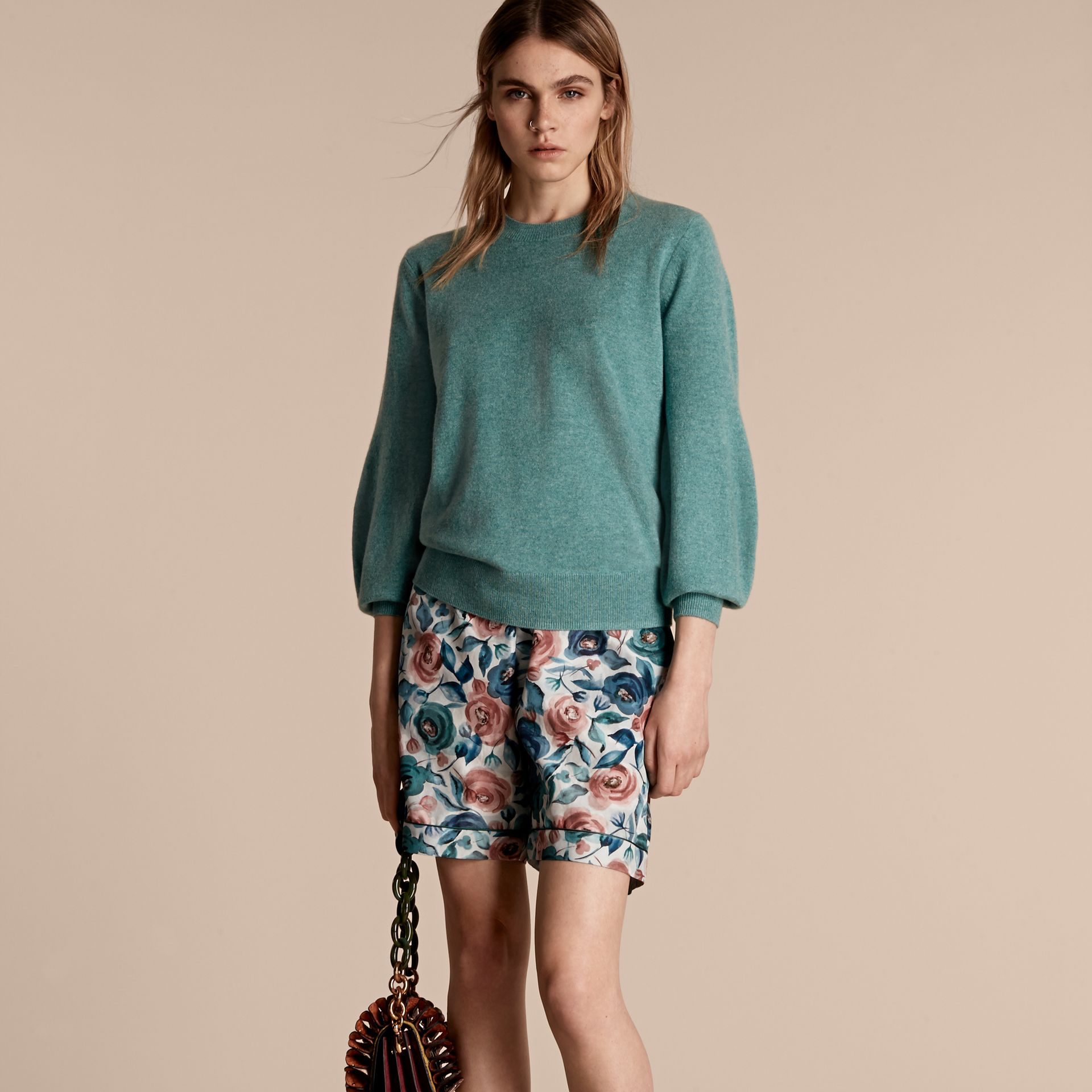 Puff-sleeved Cashmere Sweater in Dusty Teal - gallery image 6