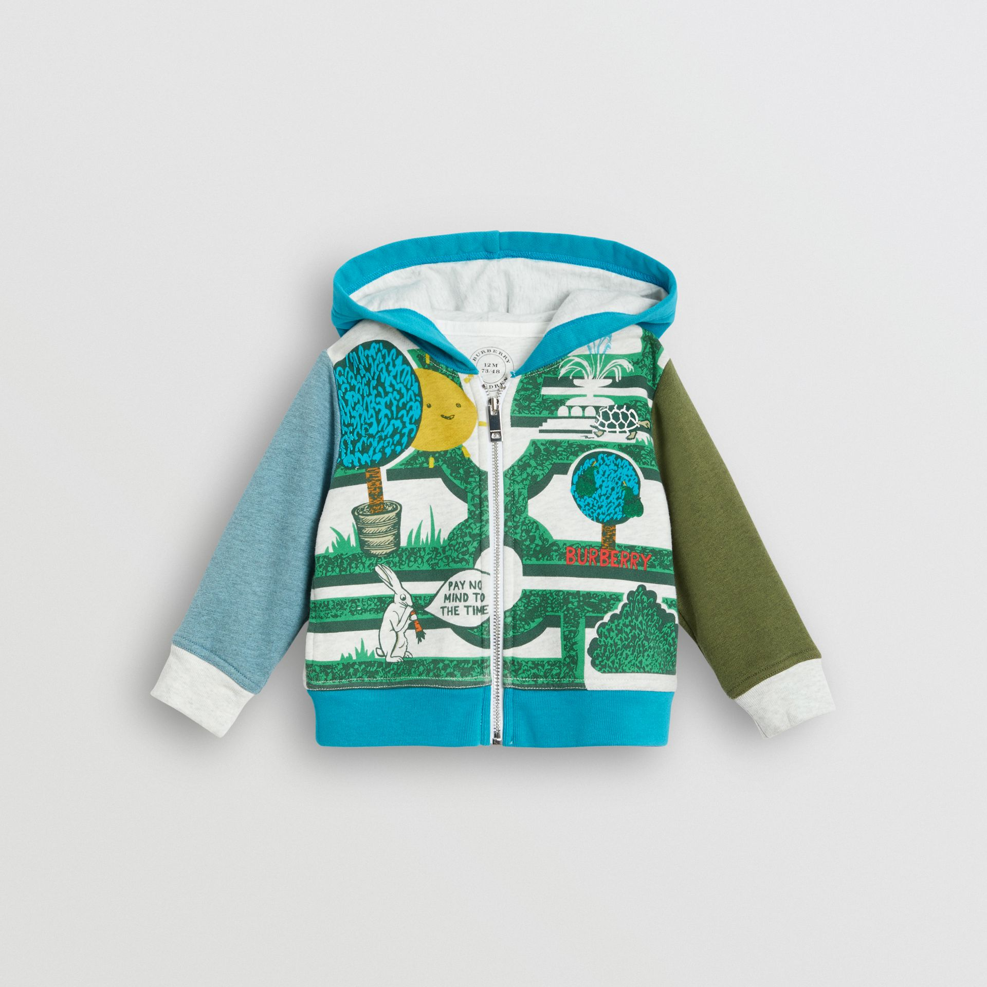 Hedge Maze Print Cotton Hooded Top in Multicolour - Children | Burberry United Kingdom - gallery image 0