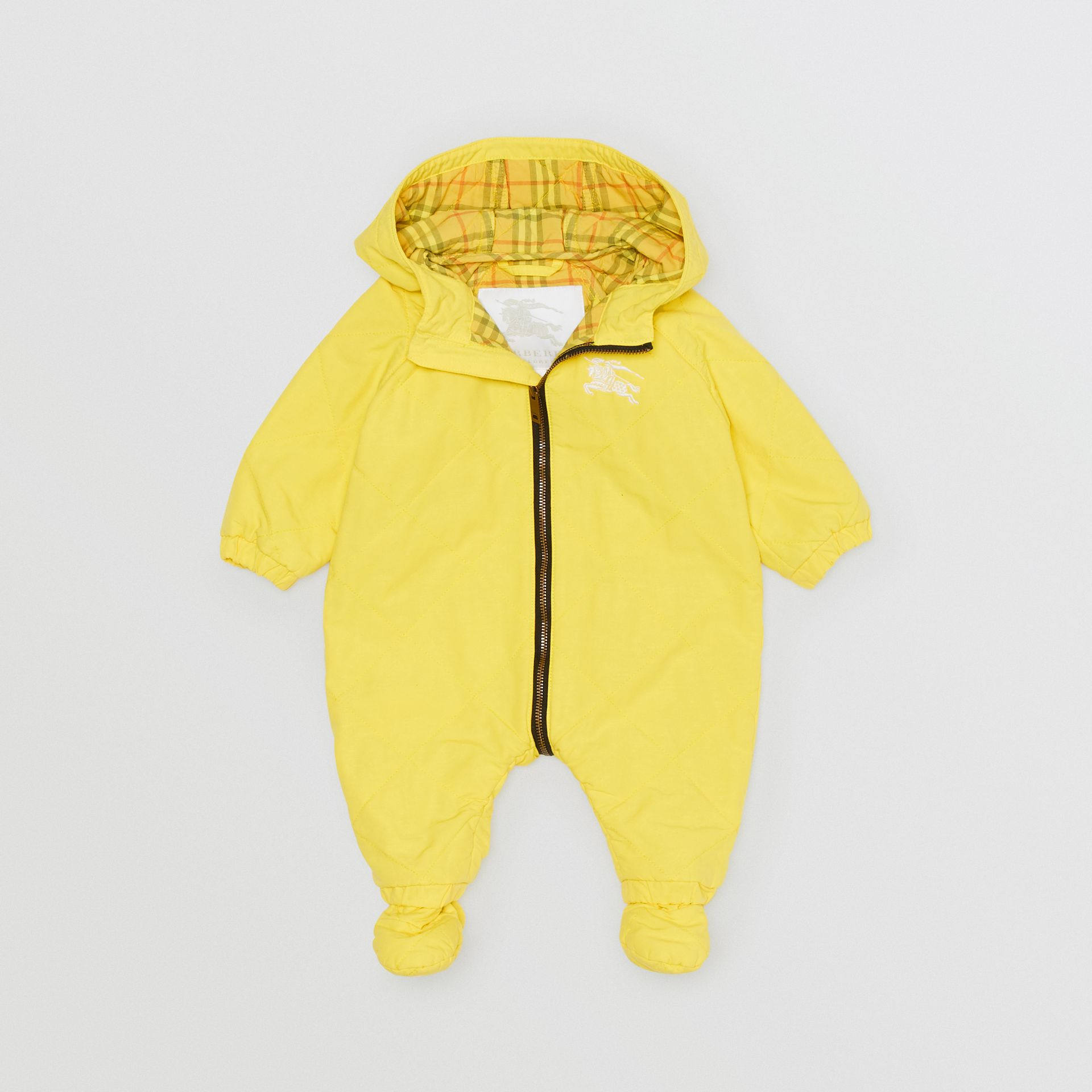 Diamond Quilted Cotton All-in-One in Yellow Citrine - Children | Burberry - gallery image 2