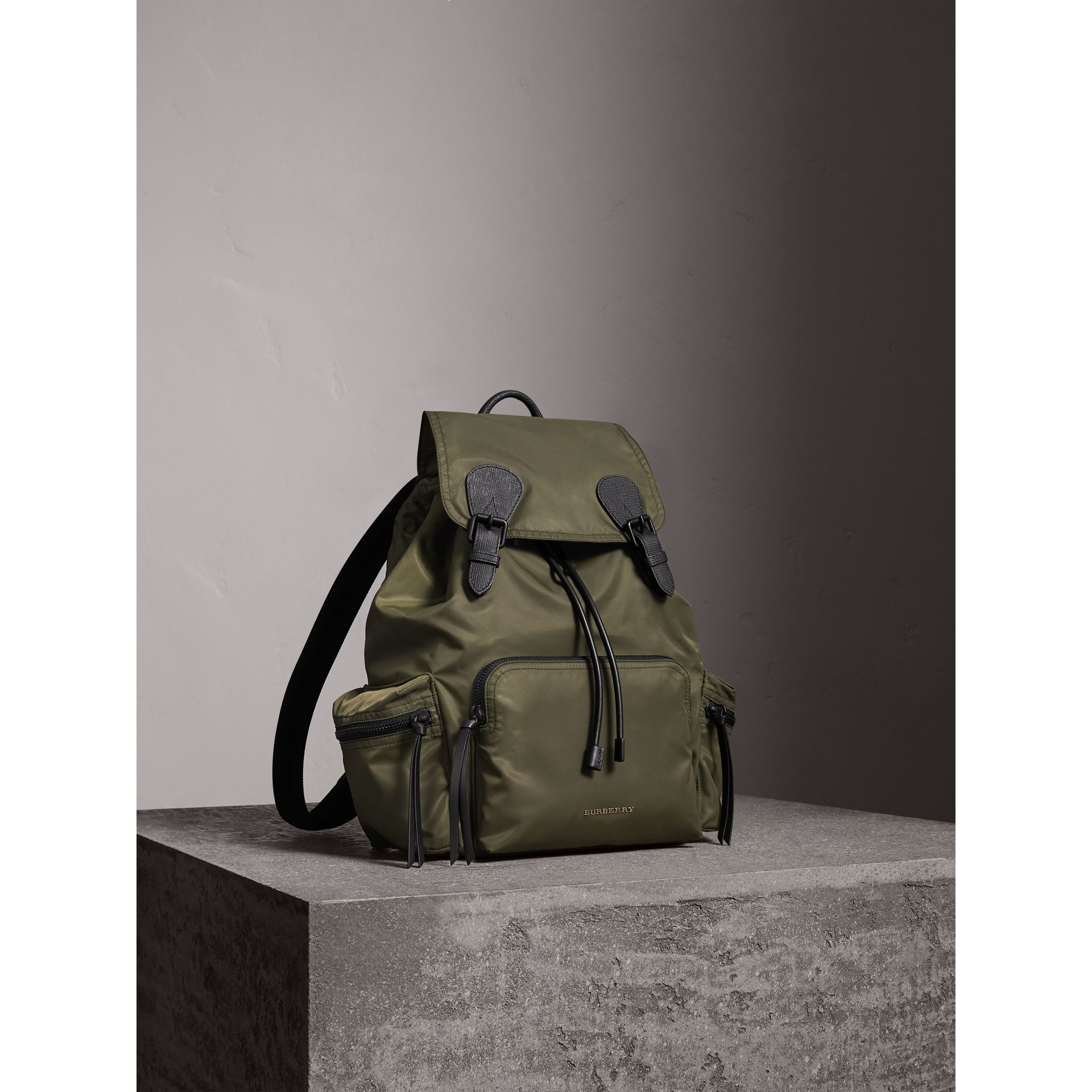 The Large Rucksack in Technical Nylon and Leather in Canvas Green - Men | Burberry - gallery image 8
