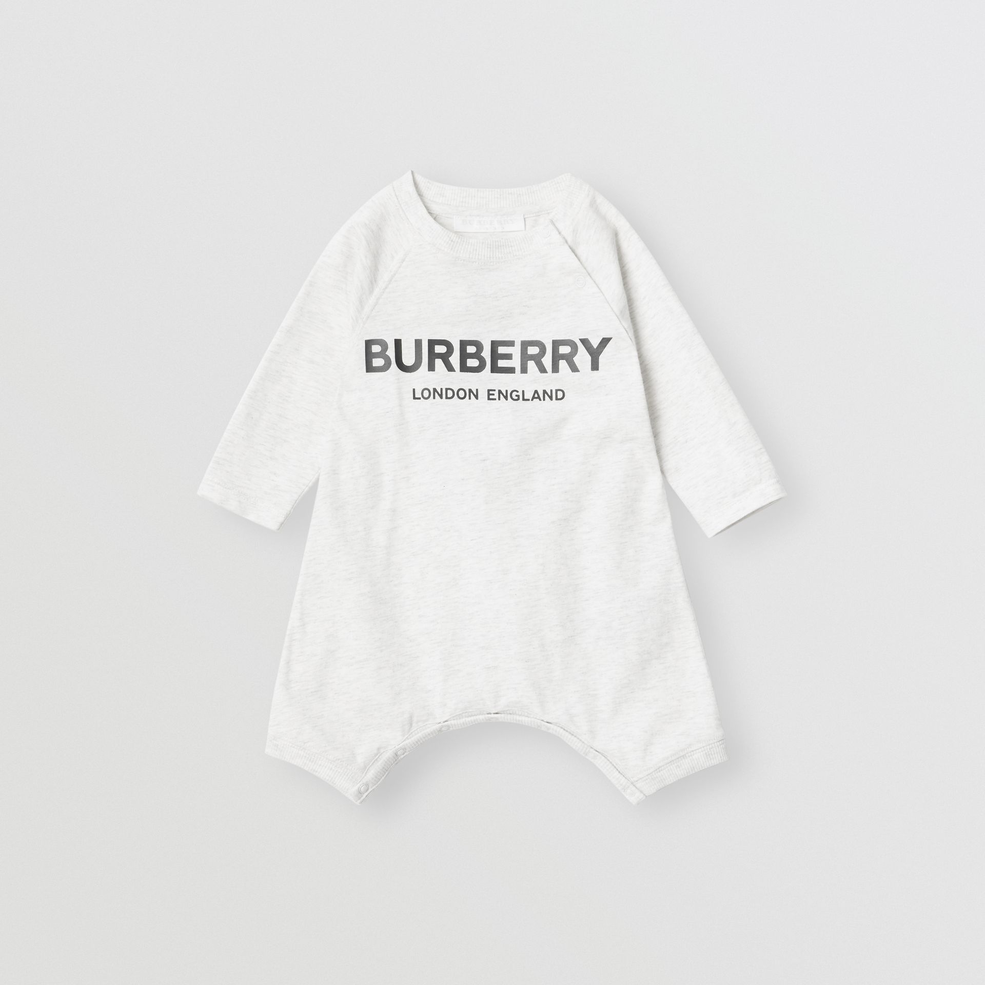 Logo Print Cotton Three-piece Baby Gift Set in White Melange - Children | Burberry - gallery image 2