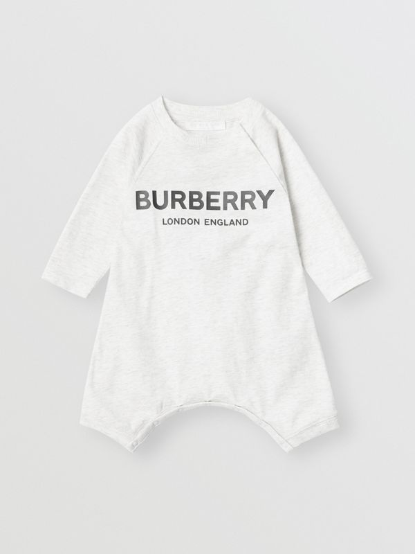 Logo Print Cotton Three-piece Baby Gift Set in White Melange - Children | Burberry - cell image 2