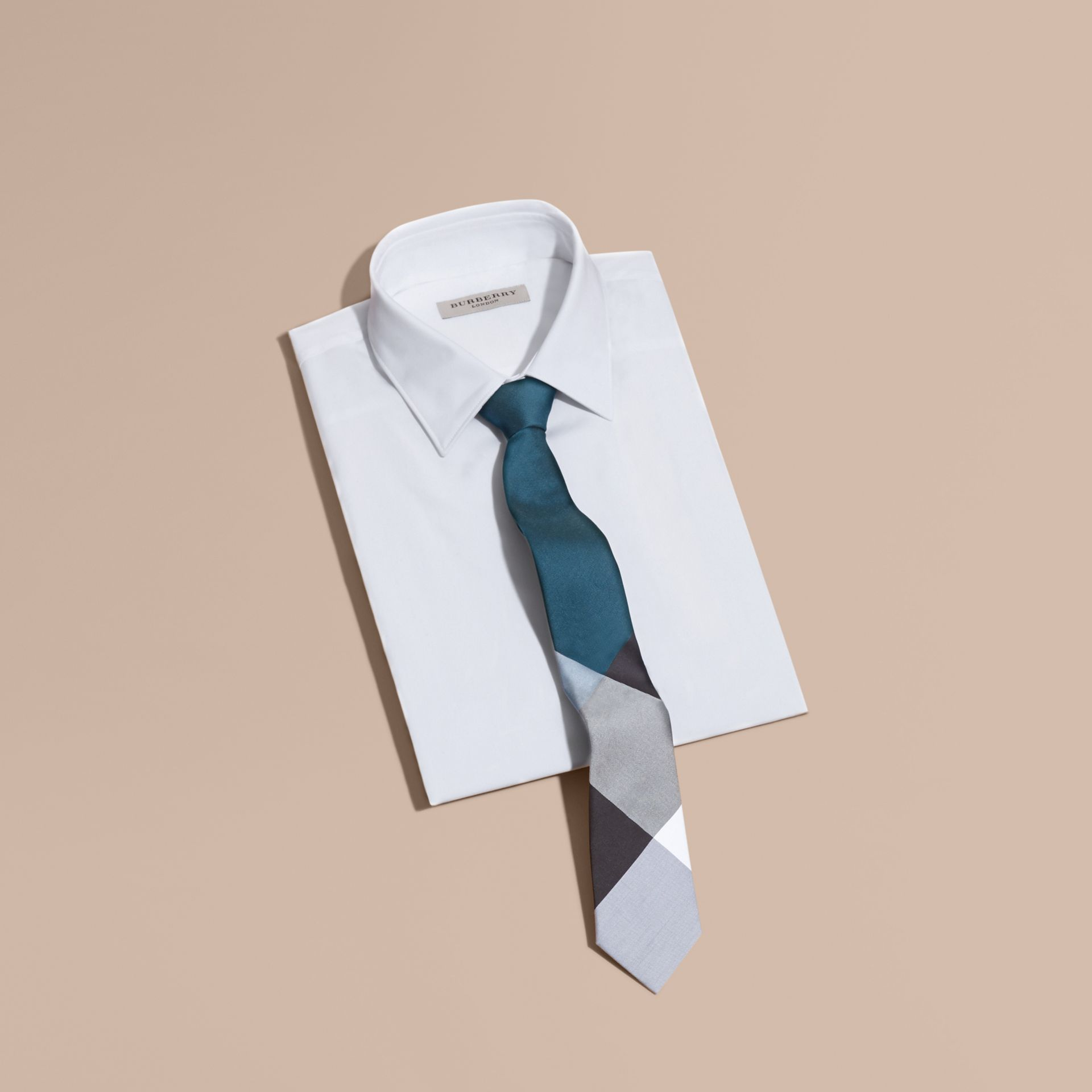 Slim Cut Check Silk Cotton Tie Mineral Blue - gallery image 4