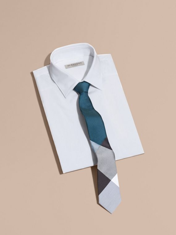 Slim Cut Check Silk Cotton Tie in Mineral Blue - cell image 3