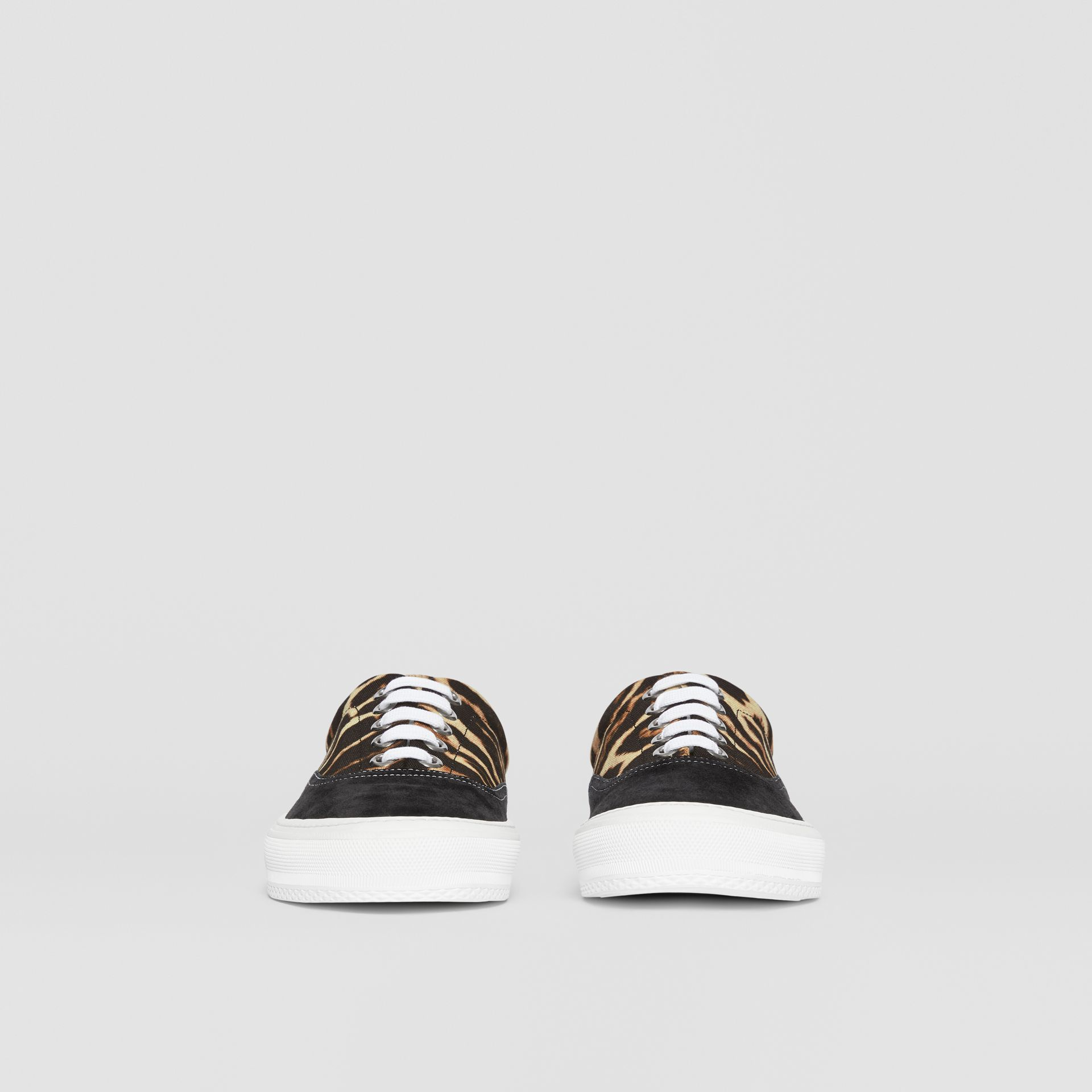 Leopard Print Nylon and Suede Sneakers in Black/honey - Men | Burberry United Kingdom - gallery image 3