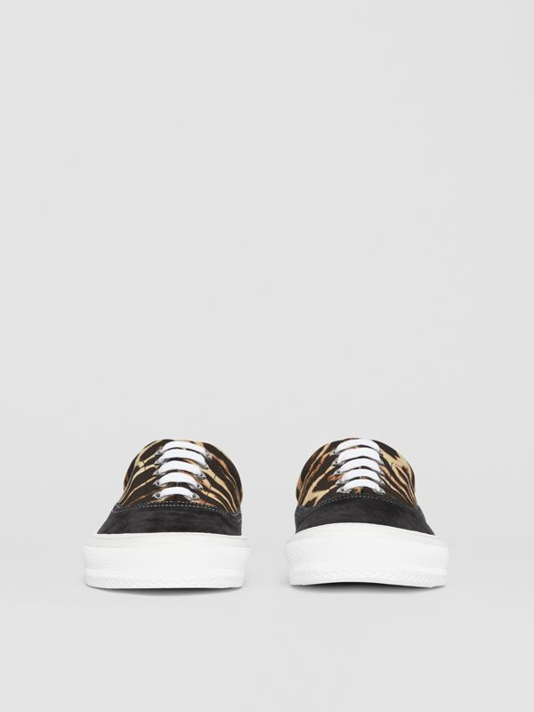 Leopard Print Nylon and Suede Sneakers in Black/honey - Men | Burberry - cell image 3