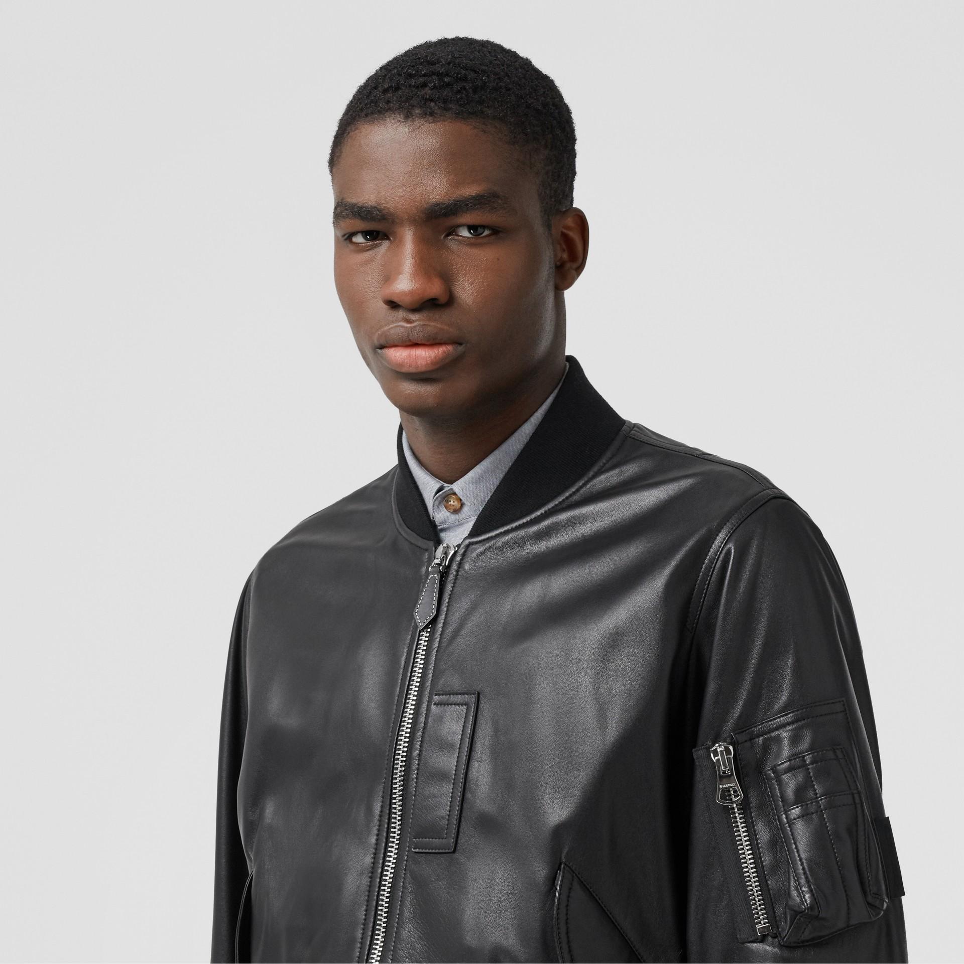 Lambskin Bomber Jacket in Black - Men | Burberry - gallery image 1