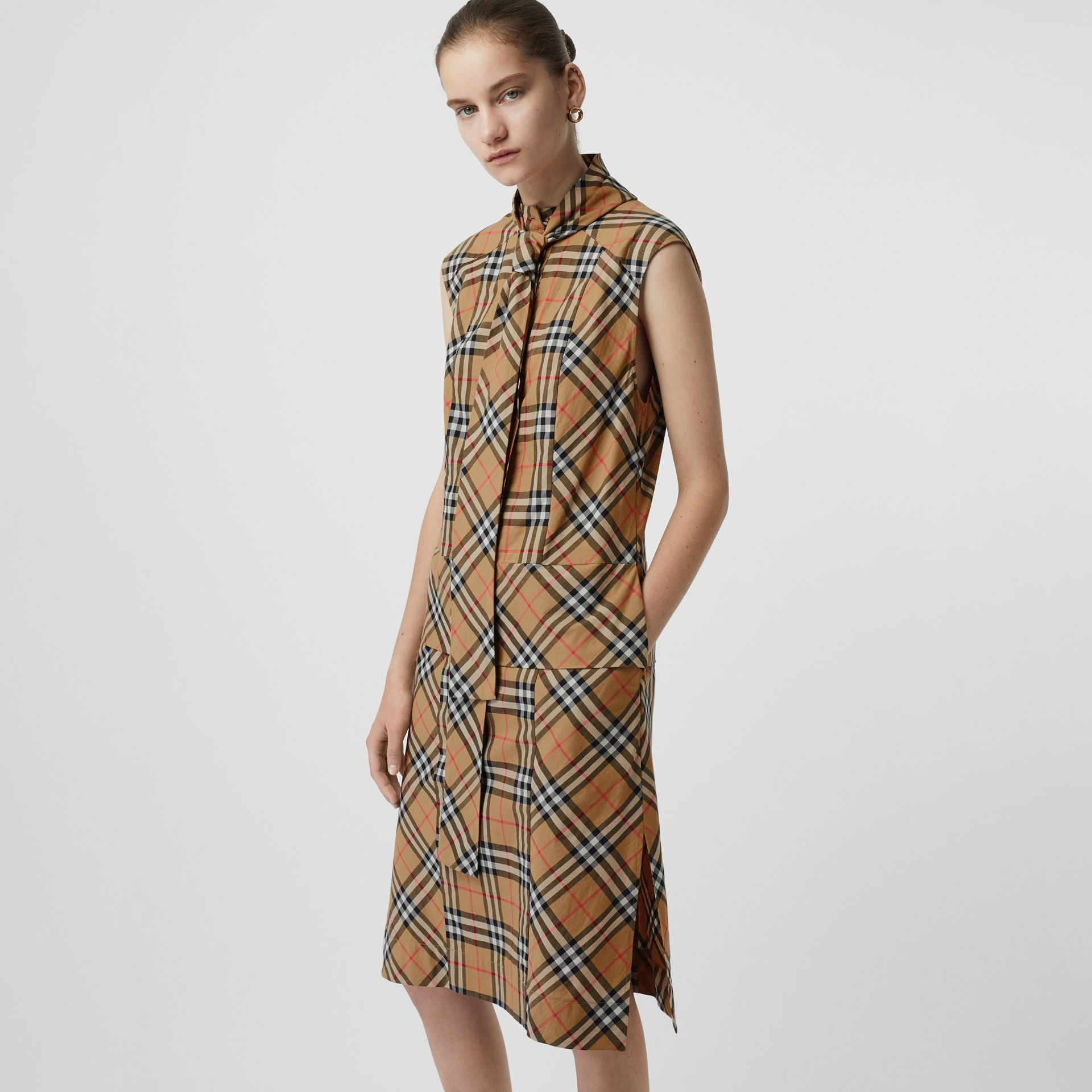 Vintage Check Cotton Tie-neck Dress in Antique Yellow - Women | Burberry - gallery image 0