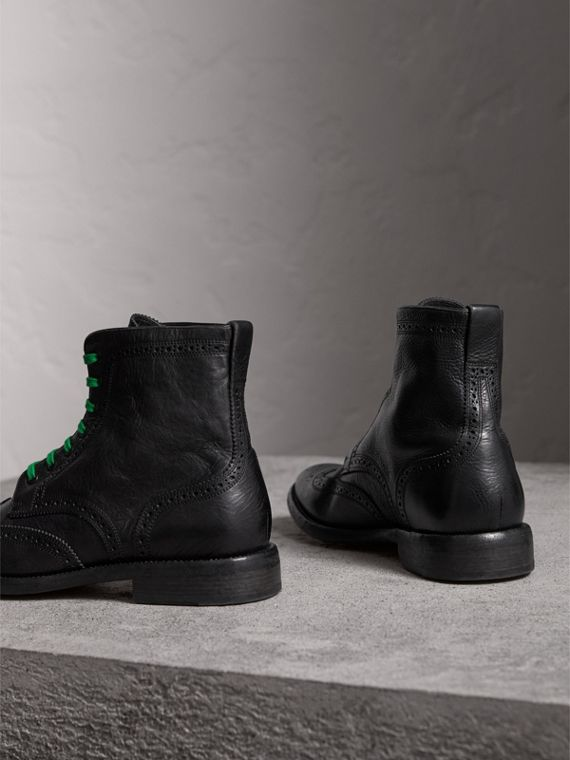 Leather Brogue Boots with Bright Laces in Black - Men | Burberry - cell image 3