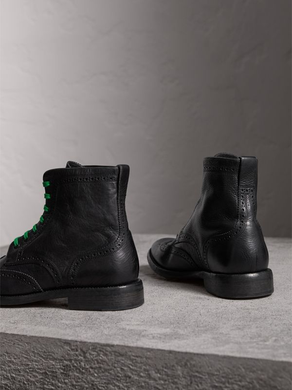 Leather Brogue Boots with Bright Laces in Black - Men | Burberry United Kingdom - cell image 3