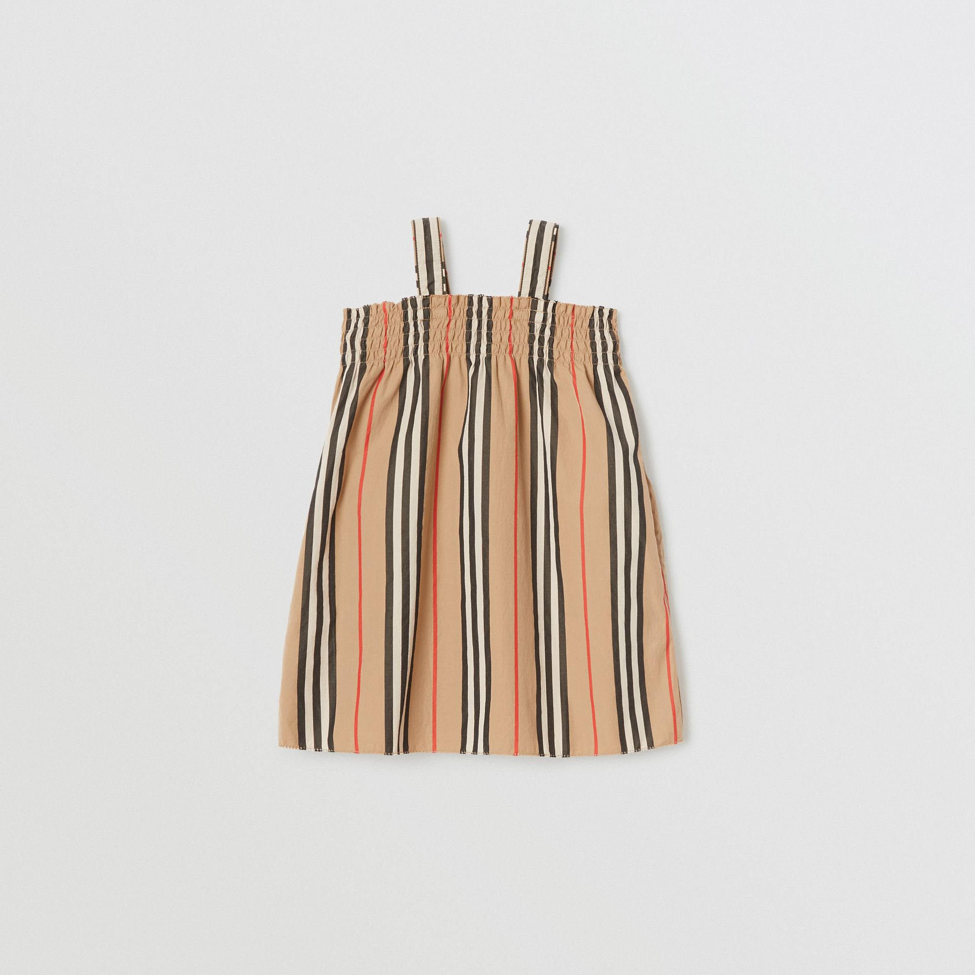 Smocked Icon Stripe Cotton Dress in Archive Beige - Children | Burberry United Kingdom - gallery image 0