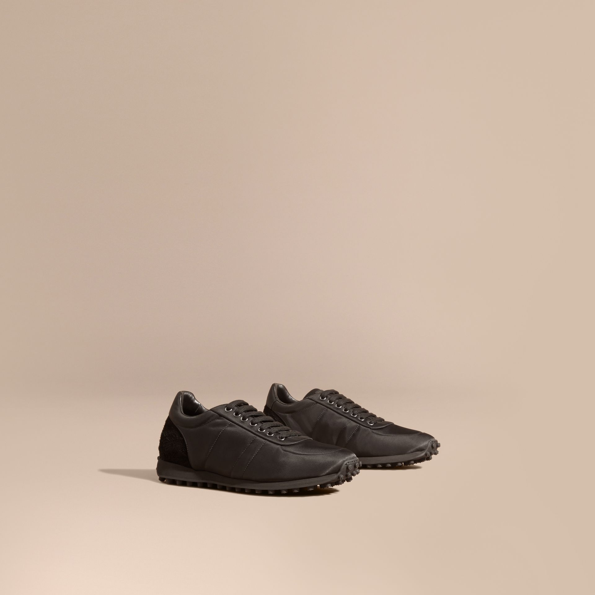 Black Textural Trim Technical Sneakers Black - gallery image 1