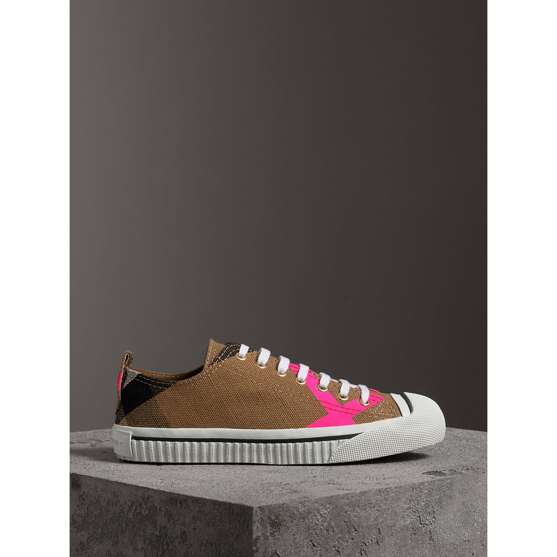 Canvas Check and Leather Sneakers in Classic/neon Pink - Women | Burberry - gallery image 4