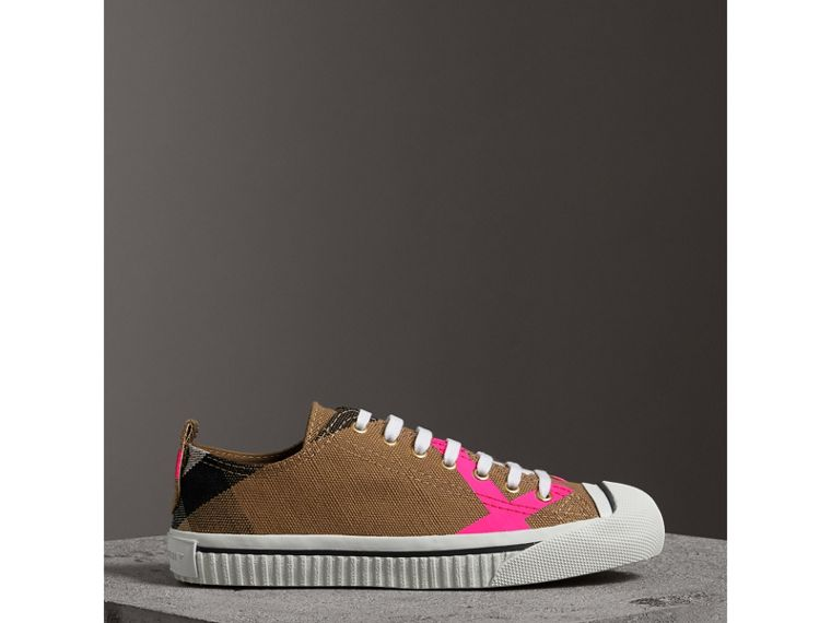 Canvas Check and Leather Sneakers in Classic/neon Pink - Women | Burberry Singapore - cell image 4