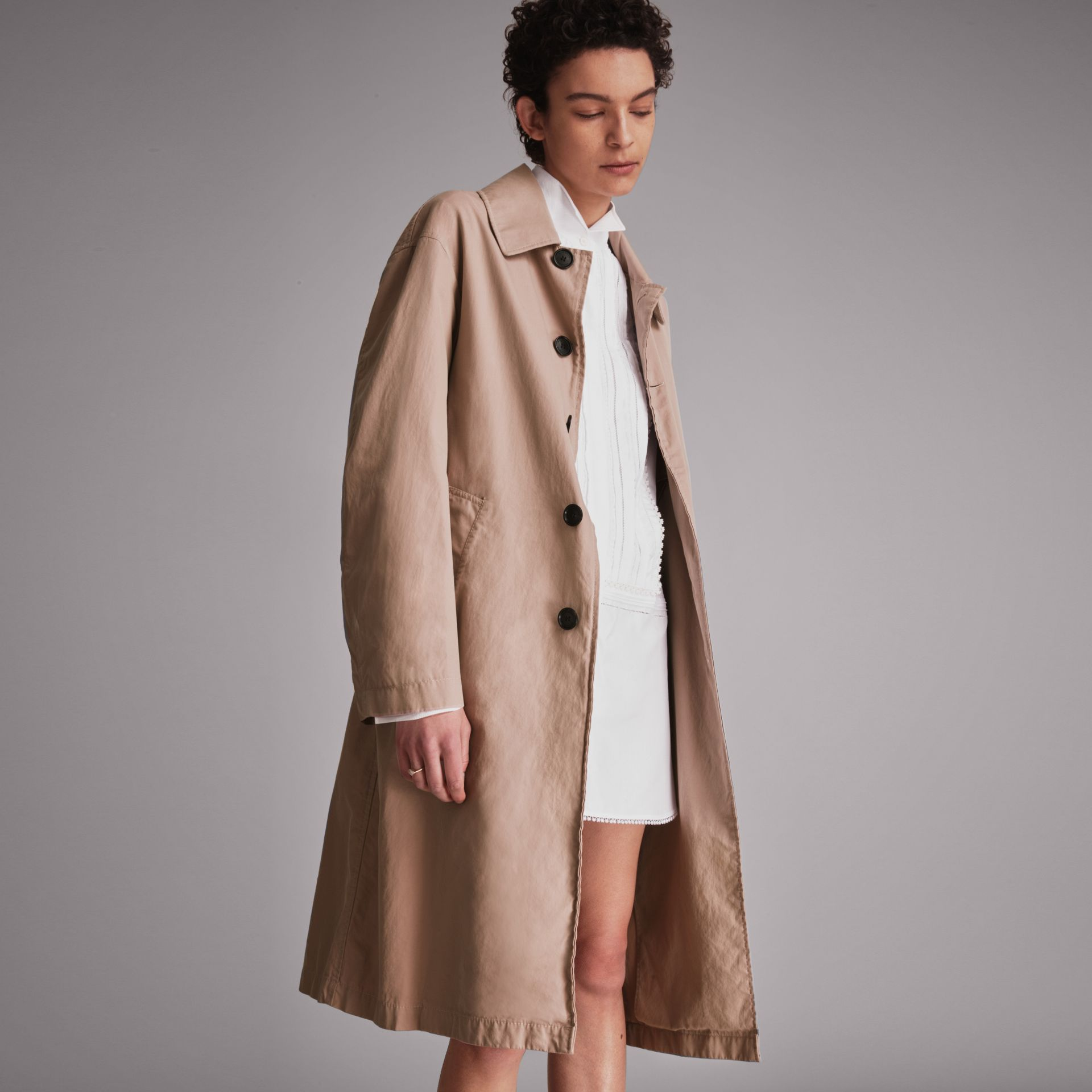 Unisex Tropical Gabardine Car Coat in Antique Taupe Pink - Women | Burberry - gallery image 7