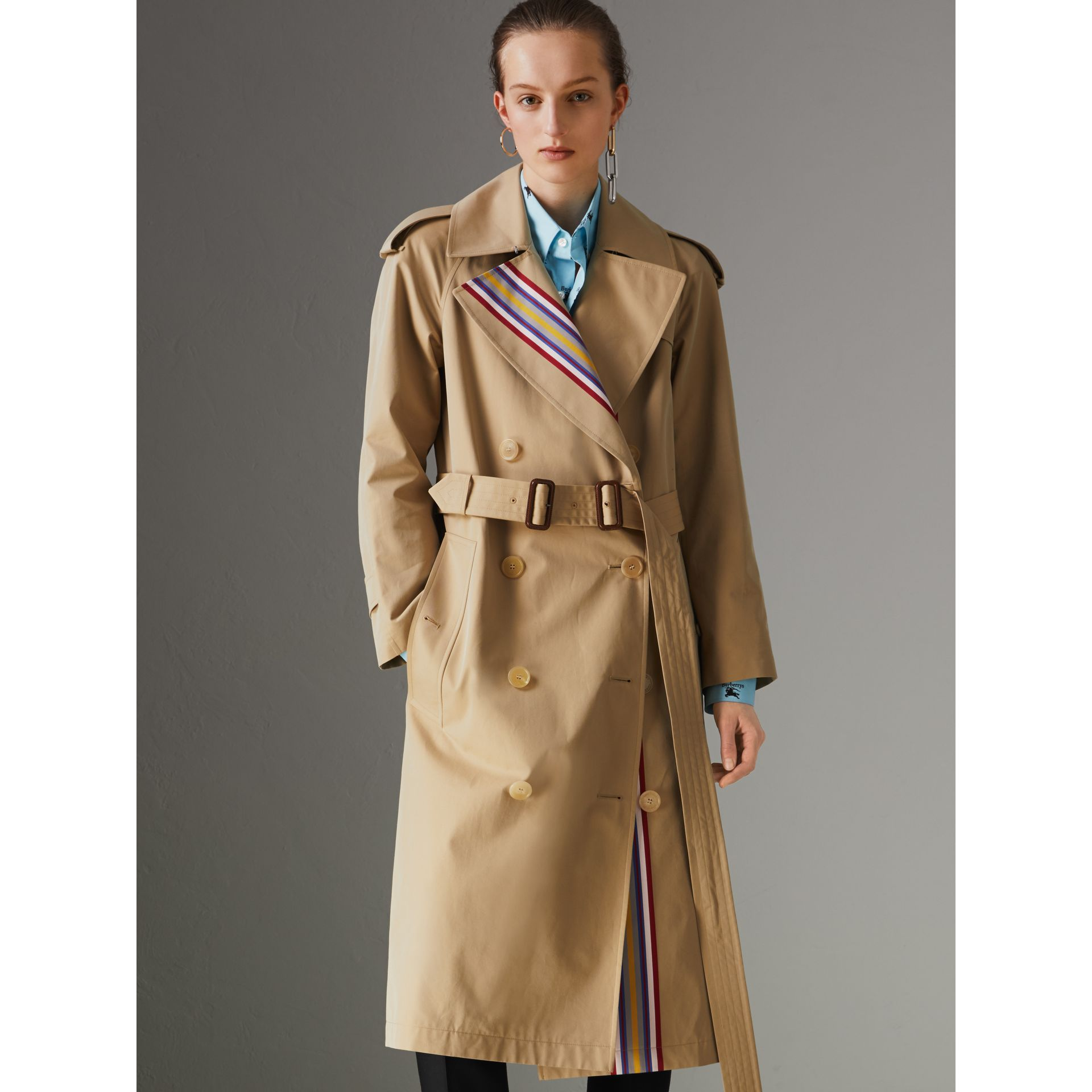 Collegiate Stripe Cotton Gabardine Trench Coat in Honey - Women | Burberry United Kingdom - gallery image 4