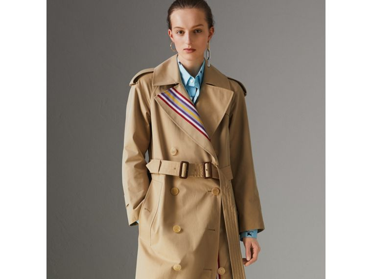 Collegiate Stripe Cotton Gabardine Trench Coat in Honey - Women | Burberry - cell image 4