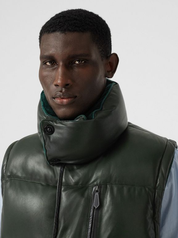 Velvet Trim Down-filled Lambskin Puffer Gilet in Dark Pine Green - Men | Burberry - cell image 1
