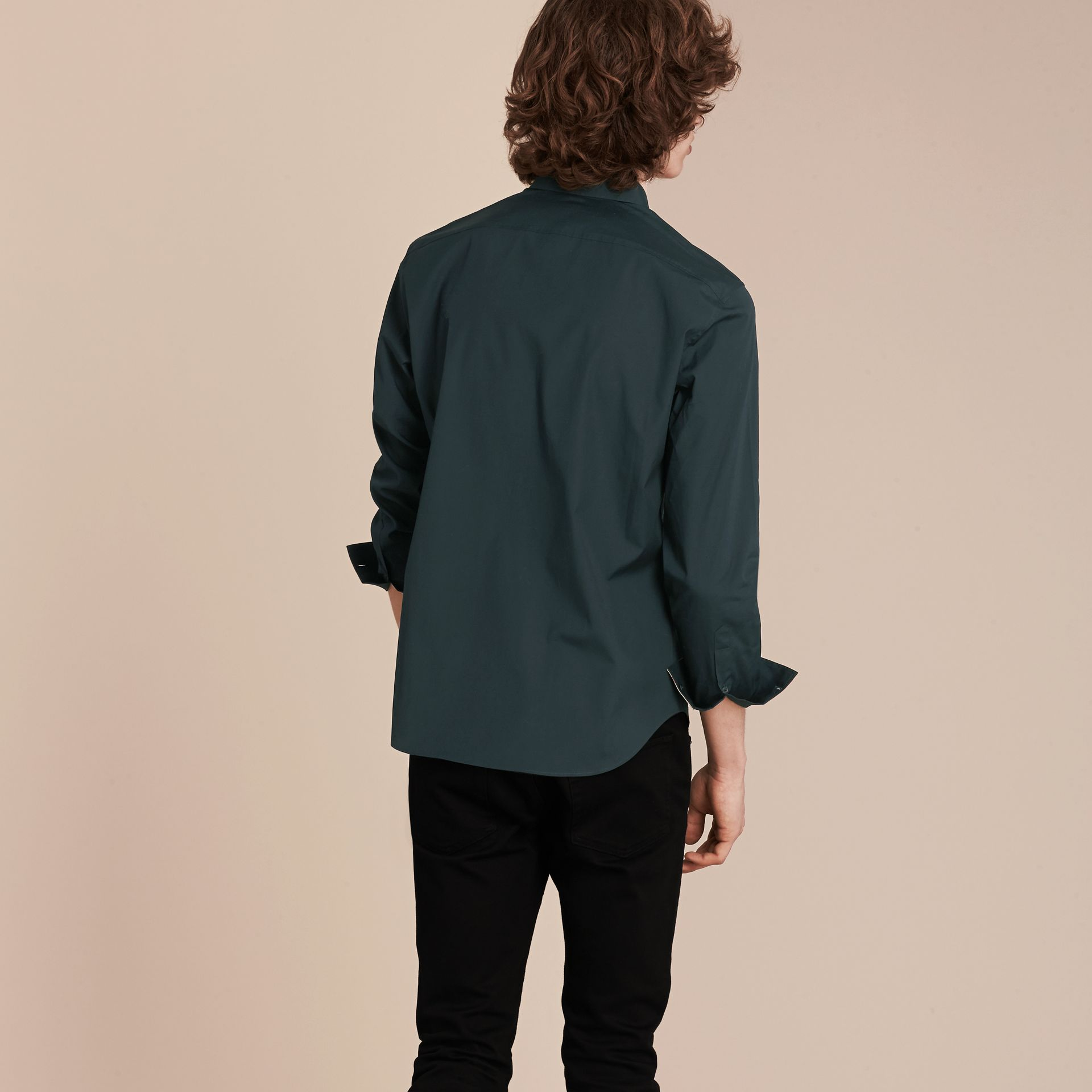 Dark teal green Check Detail Stretch Cotton Poplin Shirt Dark Teal Green - gallery image 3